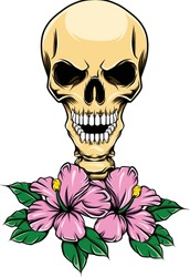 Glossy skull with teeth and realistic flowers for the tattoos inspiration of illustration
