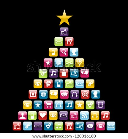 Glossy Social and multimedia icons in Christmas pine tree greeting card. Vector illustration layered for easy manipulation and custom coloring.