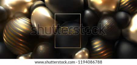 Glossy soft body spheres. Abstract 3d background. Vector realistic illustration. Black and golden squeezed balls or bubbles. Jewelry decoration. Luxury ornament. Modern cover design. Banner template