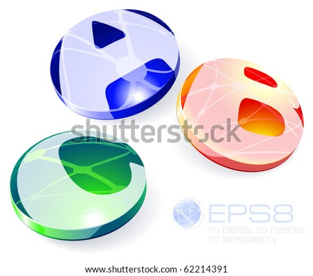 Glossy spheres ABC. Vector.