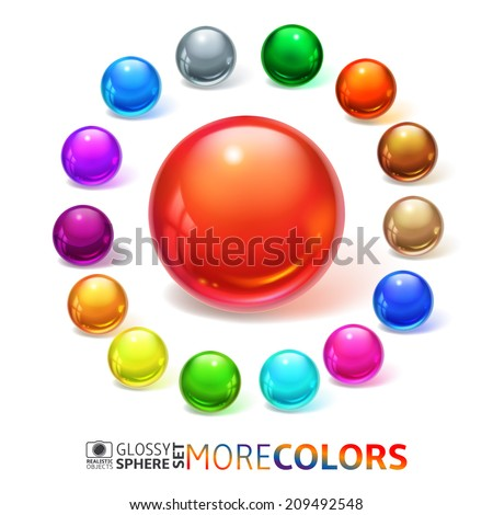 Stock Photo Glossy spheres, buttons, set