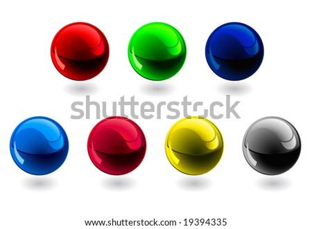 Glossy spheres. RGB, CMYK