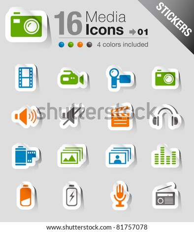 Glossy Stickers - Media Icons - stock vector