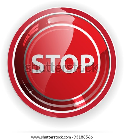 Glossy stop sign button for web applications. vector format