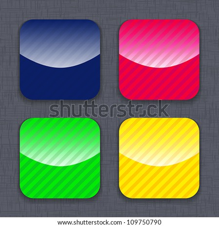 Glossy striped colorful app icon templates on linen background. Vector illustration