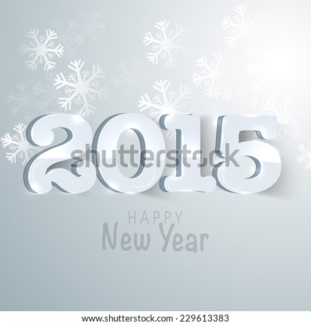 Glossy text 2015 for Happy New Year celebration on snowflakes decorated grey background.
