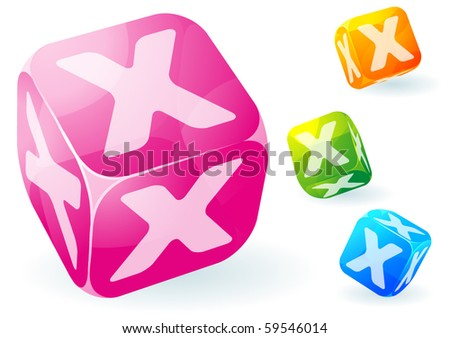 Glossy transparent vector abc cubes. - stock vector