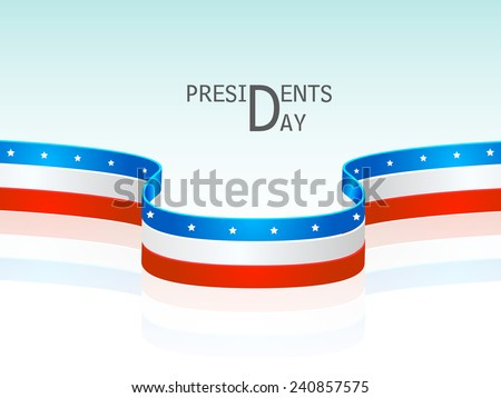 Glossy United State American flag color stripes for Presidents Day celebration on shiny sky blue background.