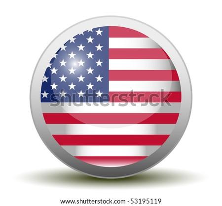 Glossy USA Flag Button