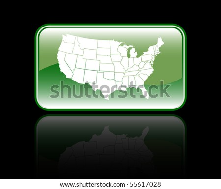 Glossy USA Map Icon Isolated On Black