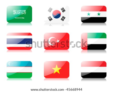 Glossy vector flags. Set five of flags from Asia (Saudi Arabia, South Korea, Syria, Thailand, Turkey, United Arab Emirates, Uzbekistan, Vietnam, Yemen)