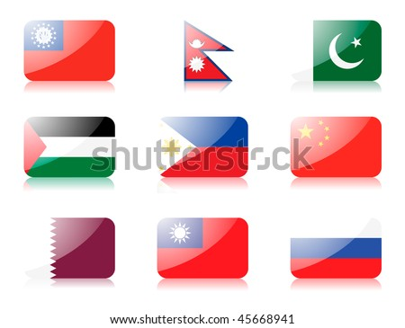 Glossy vector flags. Set four of flags from Asia(Myanmar, Nepal, Pakistan, Palestine, Philippines, People rep. of China, Qatar, Rep. of China, Russia)