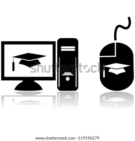 Glossy vector icons showing a computer with a graduation hat on the screen and a mouse with the same graphic, for distance learning