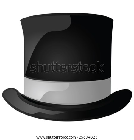 Glossy vector illustration of a black and gray top hat