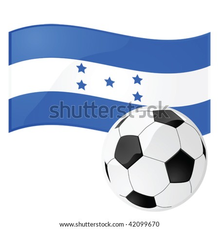 Glossy vector illustration of a flag of Honduras with a football (soccer ball) in front of it