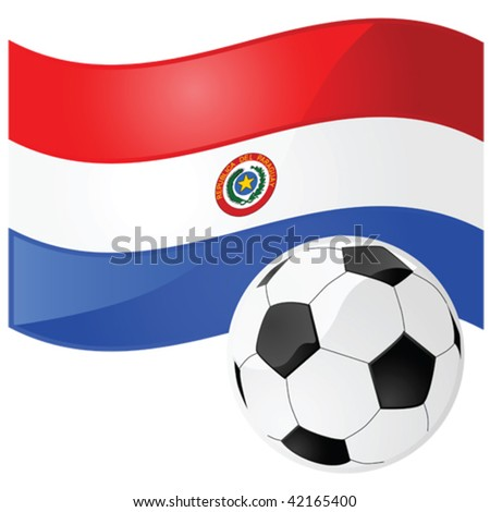 Glossy vector illustration of a flag of Paraguay with a football (soccer ball) in front of it