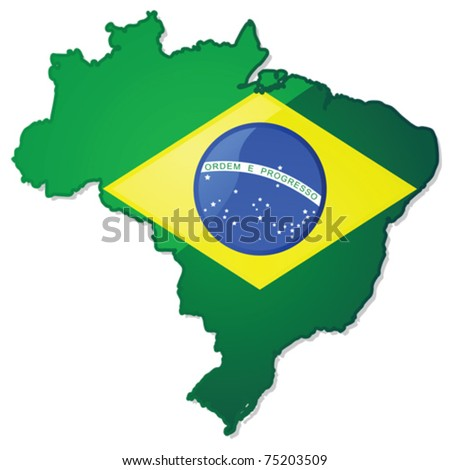 Glossy vector illustration of a map of Brazil with the Brazilian flag over it. EPS file divided in layers, with flag, shadow and borders in separate layers, making it easy to customize version needed. - stock vector