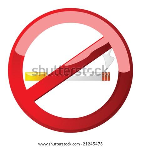 Glossy vector illustration of a no smoking sign