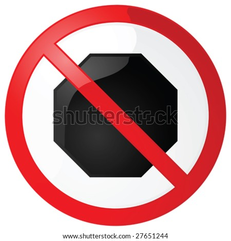 Glossy vector illustration of a no stopping sign
