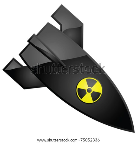 Glossy vector illustration of a nuclear bomb, with the radioactivity sign painted on it