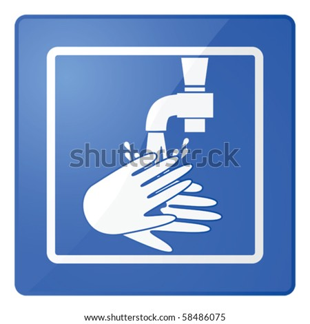 Glossy vector illustration of a sign for washing hands
