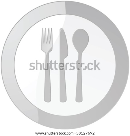 Glossy vector illustration of a sign with a plate and cutlery