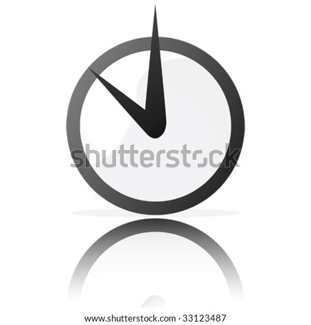 Glossy vector illustration of a stylized clock, reflected on a white surface
