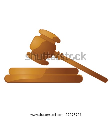 Glossy vector illustration of a wooden gavel over a white background