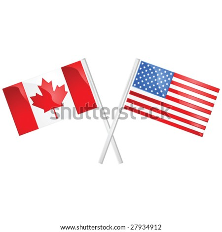 Glossy vector illustration of the Canadian and American flags crossed over each other