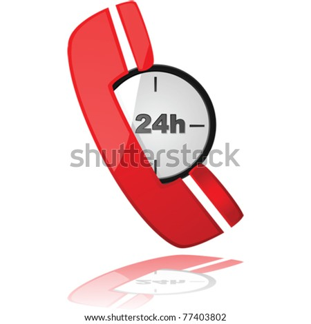 Glossy vector illustration showing a phone icon over a clock, to symbolize a 24-hour service