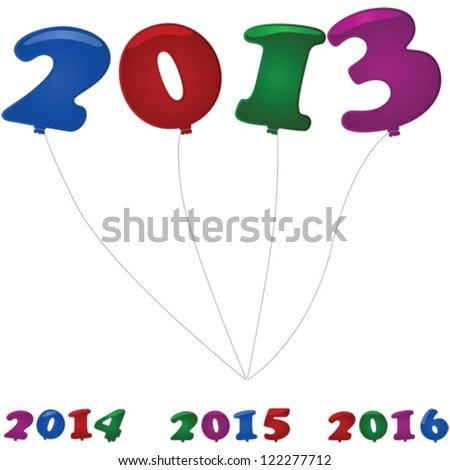 Glossy vector illustration showing colorful number shaped balloons for the new year in 2013, 2014, 2015 and 2016