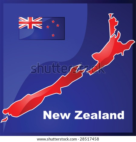 Glossy vector illustration with the map and flag of New Zealand