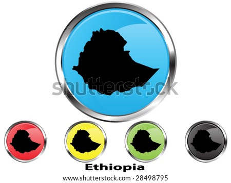 Glossy vector map button of Ethiopia