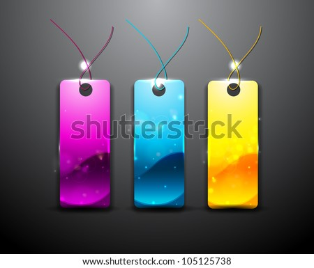 Glossy vector tags: magenta, cyan and yellow