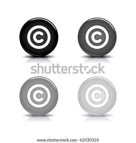 Glossy web 2.0 button with copyright symbol. Black and gray round shapes with shadow and reflection on white background. 10eps