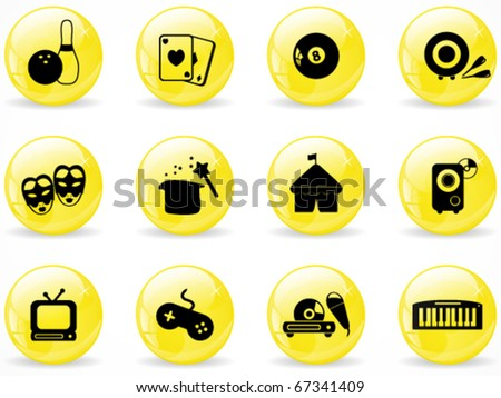 Glossy web buttons, entertainment icons - stock vector
