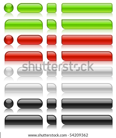 Glossy web buttons of different shapes in green, red, white and black colors.