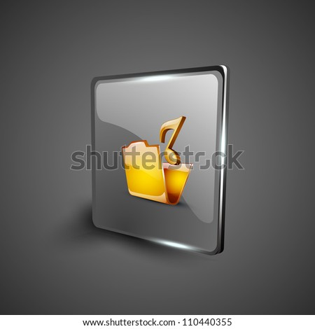 Glossy web 2.0 music icon with music folder symbol. EPS 10.