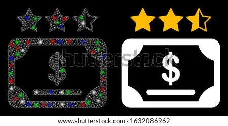 Glossy white mesh financial share rating with glare effect. Abstract illuminated model of financial share rating. Shiny wire carcass polygonal mesh financial share rating icon on a black background.