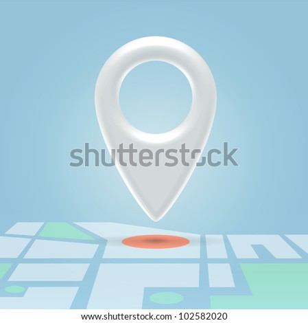 Glossy white navigation point hanging in light blue space over map details