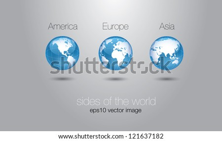 glossy world globe set concept - stock vector
