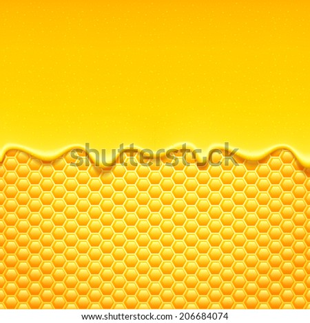 Glossy yellow background with honeycomb and sweet honey drips..
