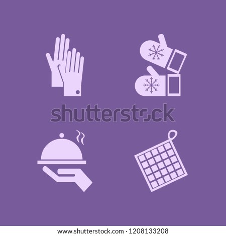 glove icon. glove vector icons set oven mitts, tray hand, gloves and mittens
