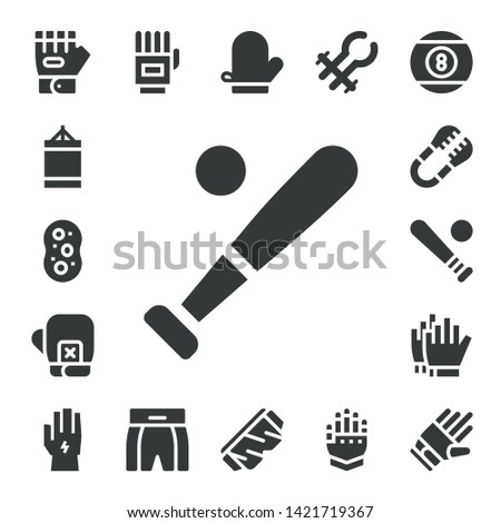glove icon set. 17 filled glove icons.  Simple modern icons about  - Glove, Punching ball, Sponge, Baseball, Boxing gloves, Tongs, Football gloves, Gloves, Boxing shorts, Mitten