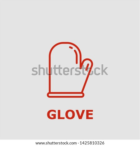 Glove symbol. Outline glove icon. Glove vector illustration for graphic art.