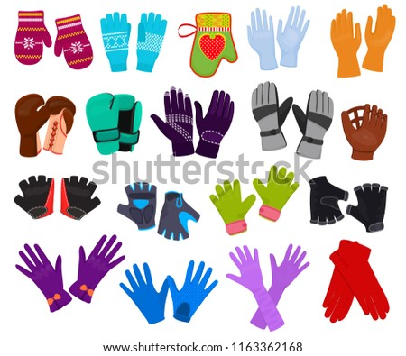 Glove vector woolen xmas mittens and protective pair of gloves illustration set of boxxing-gloves or knitted mitts clothes for hand fingers isolated on white background