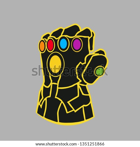 Glove with multicolored gems. Thanos Glove. Vector illustration. EPS 10.