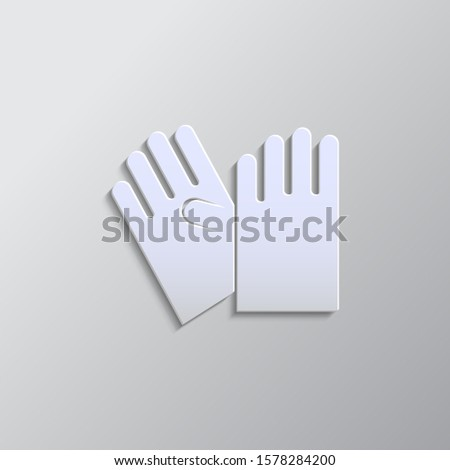 Gloves paper style, icon. Paper style vector icon.