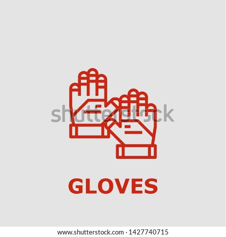 Gloves symbol. Outline gloves icon. Gloves vector illustration for graphic art.