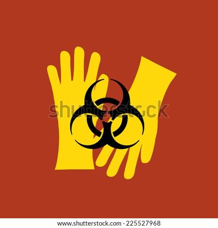gloves with black biohazard